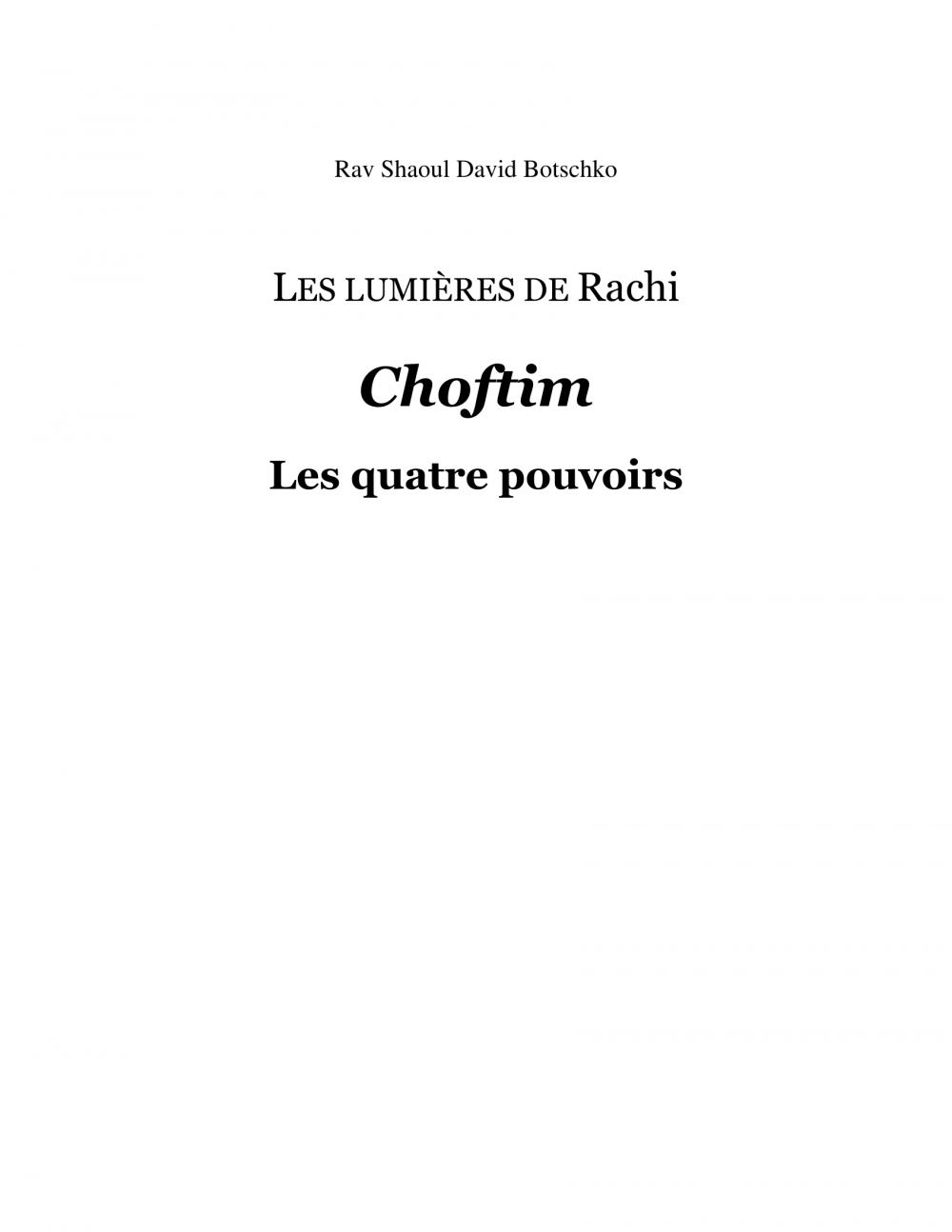 Couverture du livre Les lumières de Rachi - Choftim