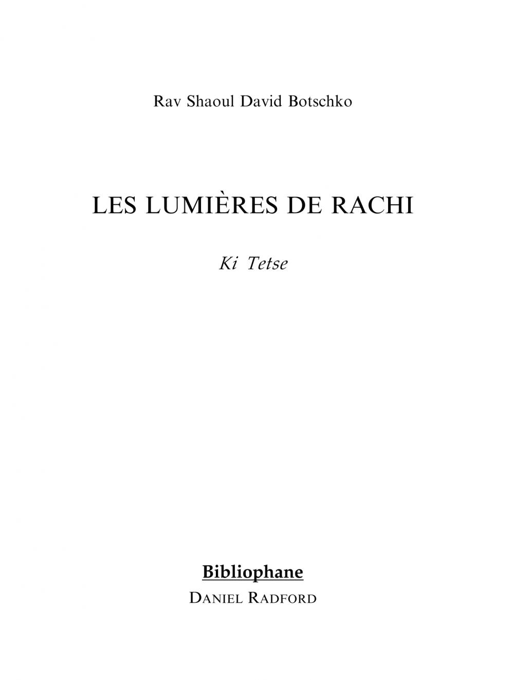 Couverture du livre Les lumières de Rachi - Ki Tetse